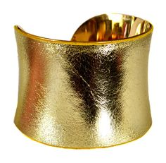 Antique Gold Metallic Leather Gold Lined Cuff by UNEARTHED on Etsy