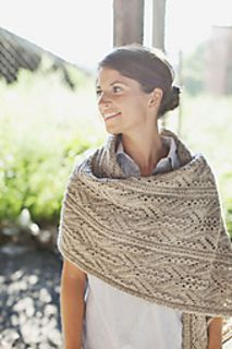 This luxurious wrap features a stunning Japanese lace and cable motif. The pattern is written for multiple sizes and functions, ranging from a standard scarf to a dramatic, large wrap. Each piece is worked flat, alternating RS and WS rows throughout. Blocking wires are recommended for best results in achieving crisp, clean edges during finishing.