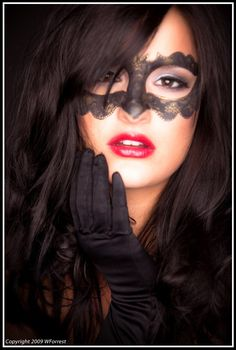 take another look...no ...it is not lace....the mask is makeup beautiful model: makeup : ME! photog :