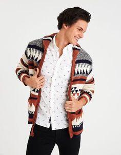 American Eagle Outfitters AE Pattern Zip-Up Sweater
