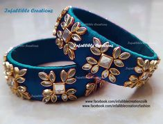 Silk Thread Bangles Design, Silk Thread Necklace, Gold Bangles Design, Thread Jewellery, Fabric Jewelry, Kundan Bangles, Silk Bangles, Bridal Bangles, Bridal Chura