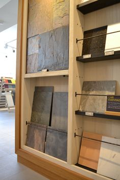 Boutique tile showroom for national retailer with full bespoke display units designed by je+1. #tiles #retaildesign #bespokedisplay #retaildisplay