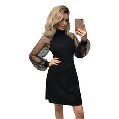KOERIM Turtleneck Mesh Dress for Women,Long Sleeve Stitching,Embroidered,Black Cocktail Dress,Dresses for Women Casual Black Cocktail Dress, Mesh Dress, Turtleneck, Stitching, Cold Shoulder Dress, Cocktails, High Neck Dress, Dresses For Work, Long Sleeve