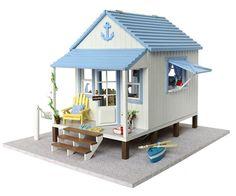 Wooden Handmade Dollhouse Miniature DIY Kit Beach House Furniture x'mas Gift | eBay