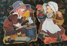 Laminated Thanksgiving Decor Pieces, Ambassador Hallmark, 1970s by JustClickThreeTimes on Etsy