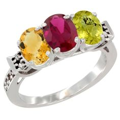 10K White Gold Natural Citrine, Enhanced Ruby & Natural Lemon Quartz Ring 3-Stone Oval 7x5 mm Diamond Accent, size 6, Women's
