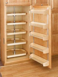 22'' D-Shape Pantry Lazy Susan (Wood) - Five Shelf set