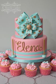 Bowes theme birthday cake with pink and gold by K Noelle Cakes