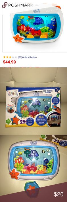 Excellent Condition Baby Einstein baby crib music Excellent Condition Baby Einstein baby crib music  With its more than 25 minutes of classical music, soft lights and unique underwater imagery featuring Baby Neptune feature the light and music gradually softens every ten minutes, helping baby to fall asleep Includes a convenient remote control that works up to fifteen feet away Universal Perfect Fit Crib attachment fits most crib rails and can also be used at bedside for babies & toddlers…