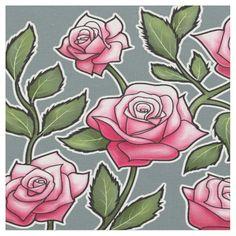 Auro Metal Saurus Background Pink Rose Floral Fabric