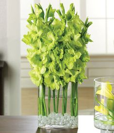 Gladiolus Green reception wedding flowers,  wedding decor, wedding flower centerpiece, wedding flower arrangement, add pic source on comment and we will update it. www.myfloweraffair.com can create this beautiful wedding flower look.