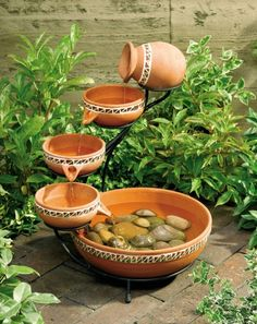 Did you just blow an hour admiring this Terracotta Bowls Outdoor Solar Fountain Bird Bath, watching cool, clear water trickle down from bowl to bowl, then recycle back up again? We understand. Small Garden Water Fountains, Patio Water Fountain, Indoor Waterfall Fountain, Tabletop Fountain, Indoor Fountain, Diy Fountain, Water Garden, Outdoor Fountains, Solar Fountains