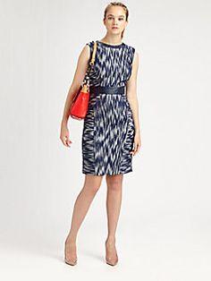 Milly - Leather-Trim Sheath Dress