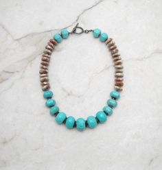 Statement Necklace.Turquoise Necklace.Chunky Necklace.Big Bold Necklace.Turquoise Choker.Bohemian Necklace.Boho Necklace. TRAIL RIDE