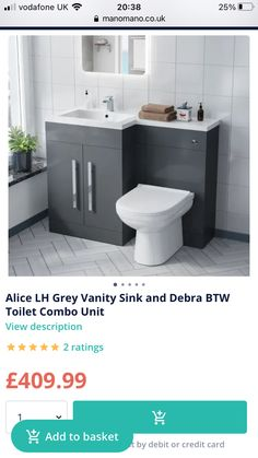 Gray Vanity, Vanity Sink, Bathroom Ideas, Toilet, The Unit, Flush Toilet, Toilets, Decorating Bathrooms, Toilet Room