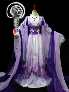 Traditional Ancient Chinese Young Lady Fairy Purple Costume, Chinese Han Dynasty Princess Embroidered Dress Clothing for Women Traditional Fashion, Traditional Dresses, Traditional Chinese, Beautiful Gowns, Beautiful Outfits, Kimono Fashion, Fashion Outfits, Mode Kimono, Medieval Fashion