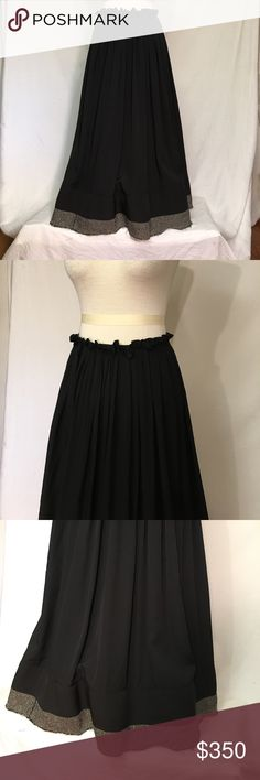 """🆕 YOHJI YAMAMOTO + NOIR silk skirt jute trim New, Unworn condition; tags attached.                 Silk upper with wool and scratchy jute trim at lower hem. Duel snap closure at rear allows waist size adjustment.  Snap will be exposed with second snap, but brings waist to 30"""" Ruffled waistline, hinting at paper bag styling. Skirt will be folded for shipment and may require wrinkle removal upon arrival. YY size 3 equals US L, however, some cite M/48. Waist 27 length 35 Yohji Yamamoto Skirts…"""