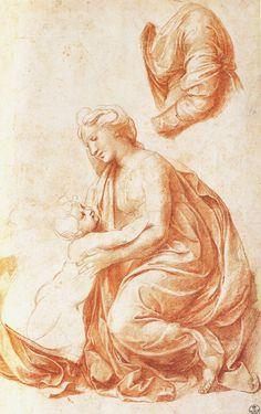 Raphael (Raffaello Sanzio), 1483-1520, Italian, Study for the Holy Family, 1518. Red chalk over stylus, 33.6 x 21.4. Galleria degli Uffizi, Florence. High Renaissance.