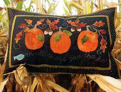 Pumpkin Pillow Pattern - Give Thanks Pumpkin Pillow Fall Pattern - Autumn Wool Applique - Pumpkin Pa Fall Applique, Pumpkin Applique, Wool Applique Patterns, Applique Pillows, Rug Hooking Patterns, Fall Patterns, Applique Quilts, Pumpkin Patterns, Applique Designs
