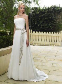 A-linie BRAUTKLEID Hochzeitskleid Chiffon Trägerlos mit Schärpe (38, Weiß) Perfect, http://www.amazon.de/dp/B00AE1CAMG/ref=cm_sw_r_pi_dp_GpB8qb0660XD4