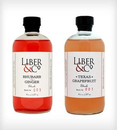 Shrub Cocktail Mixers - Rhubarb & Ginger and Texas Grapefruit by Liber & Co.  on Scoutmob Shoppe