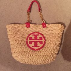 d2ecf460260c Tory Burch Audrey Straw Tote Natural straw with red details. Barely used.  Holds up incredibly well!