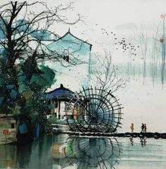"PILLOW RIVER PEOPLE BY WANG YU YUAN.  I love and have been heavily influenced by the art of China for over 50 years. If you share this love, scroll now through Pinterest pins of ""Chinese Art And Prints"" which have impressed me the most.  I INVITE YOU TO VISIT MY ART GALLERY NOW.... www.https://richard-neuman-artist.com"
