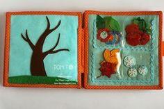 Tela hecha a mano tranquila libro ocupado por Sergio, árbol de la temporada, el libro de desarrollo