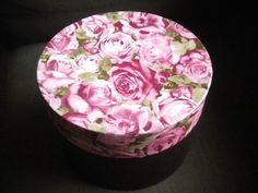 DIY Boite carton ronde décorée - décopatch motif fleurs