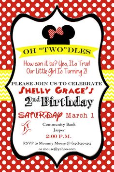 Oh Toodles! Minnie Mouse 2nd Birthday Party Invitation