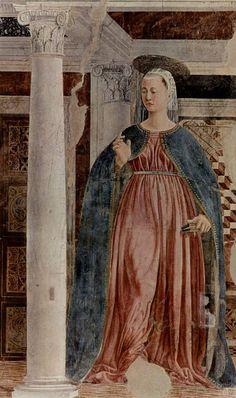 Piero della Francesca.  Freskenzyklus der »Legende vom Heiligen Kreuz« im Chor von San Francesco in Arezzo, Szene: Jungfrau der Verkündigung. 1452-1466, Fresko. Arezzo, San Francesco. Italien. Renaissance.  KO 03402