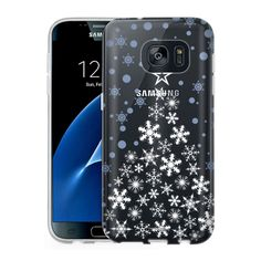 Samsung Galaxy S7 Clear Case - White Snowflake Tree with Blue Snowflakes