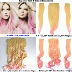 Quality-Thick-Straight-Wavy-Blonde-Pink-Dip-Dye-Ombre-Clip-In-Hair-Extension