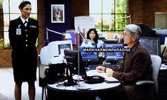 """–> Previously Unpublished Stills NCIS 02x07    Call of Silence Mark Harmon, Sasha Alexander & Alicia Coppola behind the scenes"""