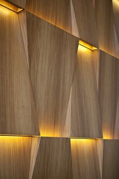 Wall Treatment- Lighting hidden within wood panels