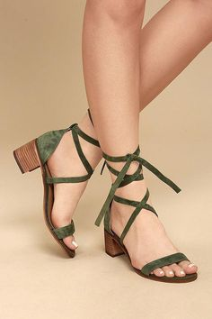 Fashionable, yet sensible, the Steve Madden Rizzaa Olive Suede Leather Heeled Sandals are all-around winners! Genuine suede leather crisscrosses and ties around the ankle on this open-toe design. Women's Shoes, Me Too Shoes, Shoe Boots, Strappy Shoes, Golf Shoes, Baby Shoes, Dress Shoes, Dance Shoes, Pretty Shoes