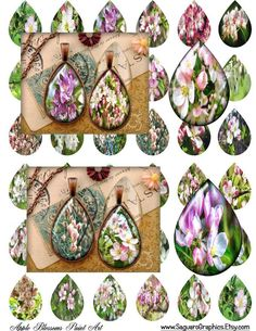 Apple Blossoms Paintings Art - - Digital Collage Sheets - 28x40mm Teardrops for Jewelry Makers, Party Favors, Crafts Projects by SaguaroGraphics on Etsy