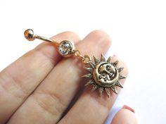 Celestial Golden Moon And Sun Belly Button Ring by Azeetadesigns