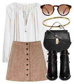 """Untitled #4404"" by laurenmboot ❤ liked on Polyvore featuring MANGO, Glamorous, LowLuv, Chloé and Valentino"
