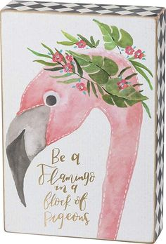 Wood Home Decor Good Vibes Primitives by Kathy Box Sign Hand Lettered with Tropical Watercolor Flowers 8 x 10 x 1.75