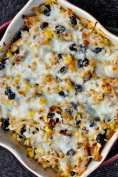 Cheesy Chicken and Rice Bake | How Sweet It Is
