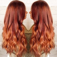 Copper red ombre hair color idea with long wavy hairstyle, incredible nice look~