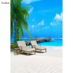 NeoBack 5x7ft Poly Vinyl Summer Sea Beach View Photo Backgrounds Photo Studio Indoor Computer Printed Children Backdrops P2271 #Affiliate