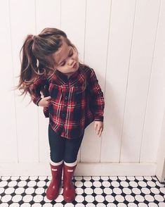 Plaid top leggings and hunter boots Outfits Niños, Girls Fall Outfits, Little Girl Outfits, Toddler Girl Outfits, Cute Kids Outfits, Children Outfits, Toddler Girl Style, Fashion Outfits, Toddler Girl Fall