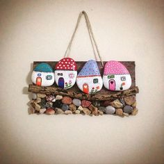 You are going to love these Painted Rock Fairy Houses and they are the cutest ideas ever. See how to make your own and watch the video tutorial too. Stone Art Painting, Rock Painting Designs, Pebble Painting, Pebble Art, Pebble Stone, Art Designs, Stone Crafts, Rock Crafts, Diy And Crafts