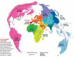 Dates and routes of Human migrations