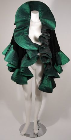 Victor Costa Green Velvet Gown with Large Ruffled Exaggerated Wrap image 6