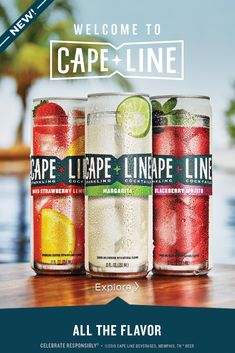 New Cape Line Sparkling Cocktails: 100% flavor. 0% compromise. Hard Strawberry Lemonade, Margarita and Blackberry Mojito varieties each include all the flavor, just 6 simple ingredients, nothing artificial and gluten free alcohol. We've taken the best summer cocktail recipes and turned them into a tasty alternative to spiked seltzers. Perfect for summer parties, backyard bbqs, pool parties or wherever you're looking for a low calorie, low carb drink.  #welcometocapeline  Cocktail Drinks, Fun Drinks, Alcoholic Drinks, Beverages, Cocktail Recipes, Keto Diet Guide, Keto Diet Plan, Ketogenic Diet, Gluten Free Alcohol