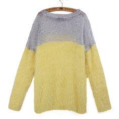 Wholesale Fashion Women's Yellow Casual Splicing Loose Woollen Sweater US$30.25