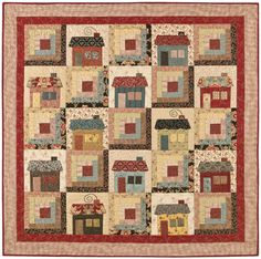 house blocks with log cabin blocks | cabins cottages cabin quilt 48 x 48 cottage quilt 55 x 55 two looks ...